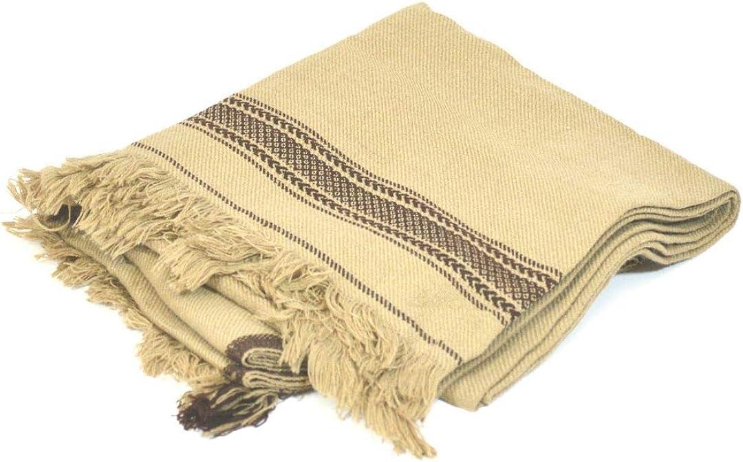Desert Dress Traditional Hand Made Afghan Mens Large Blanket Wool (Cream)