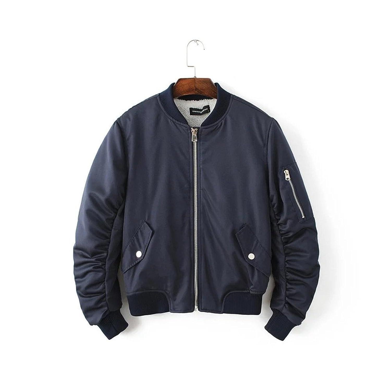 [美しいです]レーディス フライトジャケット ブルゾン 裏起毛 ウール 厚手 防風 ゆったり カジュアル 秋冬 シンプル 欧米風