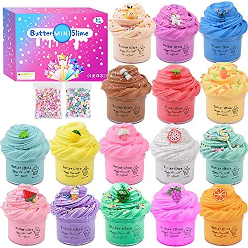 Pack de 16 Slime Kit, Fluffy Butter Slime para niñas y niños, muy elástico y no pegajoso...