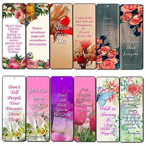 Creanoso Bloemen Positieve Wijsheid Motiverend Bladwijzers voor vrouwen (12-Pack) - Premium Gift Set - Inspirerend Word Gezegden Quotes voor Dames, Vrouw, Girls - Design Six Bulk Diverse Bookmarks