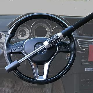 BTHDPP Car Club Steering Wheel Lock Universal Vehicle Car Truck Van SUV Keyless Password Coded Twin Hooks Extendable Retractable Heavy Duty Security Guard Anti Theft