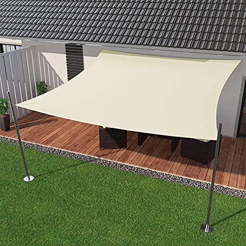 IBIZSAIL Markise Wasserdicht 95% UV Sonnenschutz - Gebogenes Rechteck - Geeignet für Garten、 Balkon、 Outdoor - Zitronengelb - 400 x 200 cm