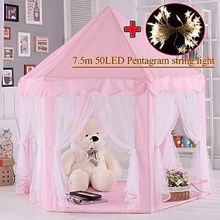 MYMM Tienda de campaña, Castillo de Princesa para niños, Tienda de rincón para niños para Uso en Interiores y Exteriores, Estuche portátil, Regalo de cumpleaños para bebés, Casa de Juegos (Rosa)