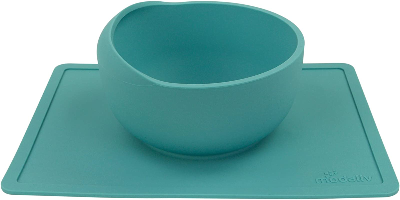 Modaliv Scooper Bowl With Silicone Placemat Suction Base 34oz Non Skid No Spill Food Grade Silicone Dishwasher And Microwave Safe