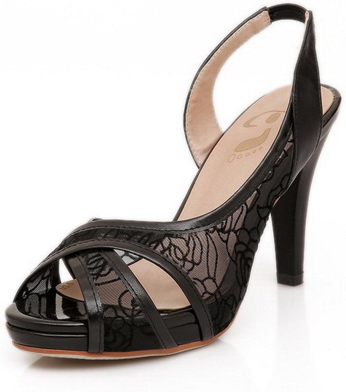 AmoonyFashion Women's PU High-Heels Peep-Toe Solid Pull on Sandals