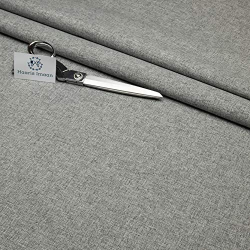 Haaris Imaan Quality Linen Look Upholstery Fabric by The Metre, Fire Retardant, Cushion, Sofa, Durable Material, Soft Furnishings, Reupholstery (Silver)