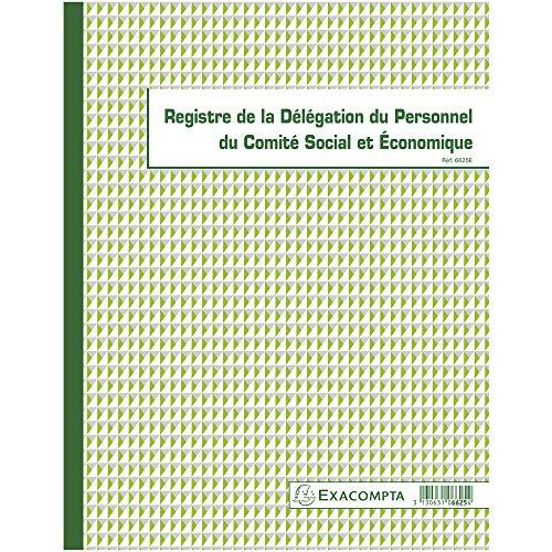 Exacompta 6625E Registre de la délégation du personnel du CSE (Comité Social Economique) 30 pages 32 x 24 cm.