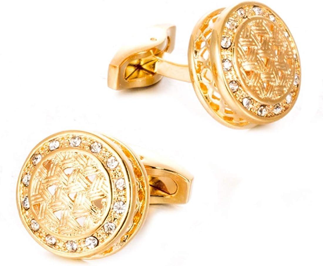 Gold tone Braided shape Cubic stones Cufflinks Luxury Chic Cuff links YW25G