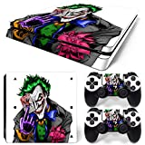 PS4 Slim Skin Decal Sticker Joker White Custom Design + 2 Controller Skins Set