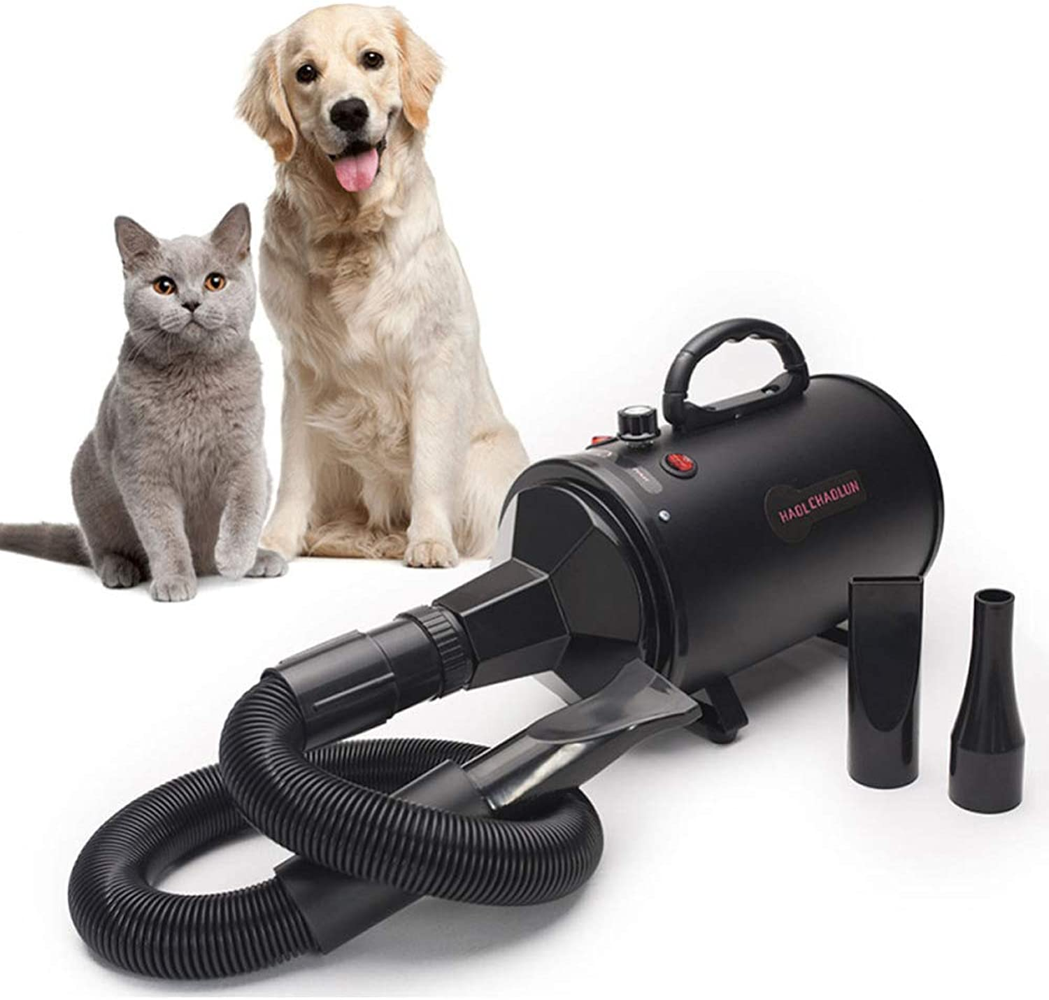 Pet Drye7002000W Low Noise Stepless Speed Adjustable Temperature Blaster Blower 3 Nozzles Flexible Hose Dog Cat Pet Hair Dryer,Black