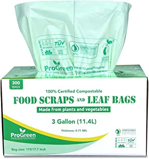 ProGreen 100% Compostable Bags 3 Gallon, Extra Thick 0.71 Mil, 300 Count, Small Kitchen Trash Bags, Food Scraps Yard Waste Bags, Biodegradable ASTM D6400 BPI and VINCOTTE Certified (300)