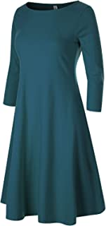 Women's Classic 3/4 Sleeve Round Hem Swing Flared Tunic Dress with Side Pockets