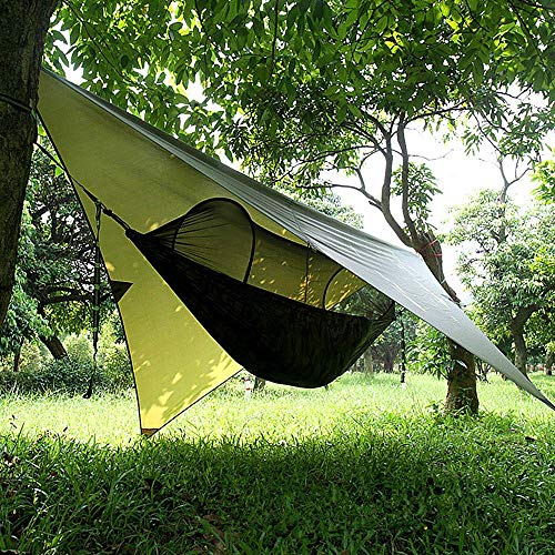RAOMAL Camping Hängematte Outdoor mit Moskitonetz und Wasserdicht Plane Ultra-Licht Atmungsaktiv, Schnell Trocknende Fallschirm Nylon Camping Hängematte Field Survival Set