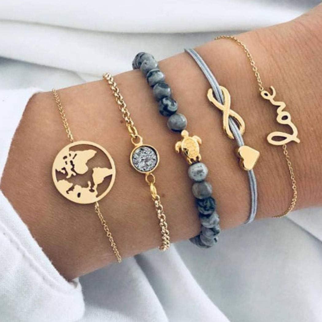 Zehory Boho Stackable Bracelet Set Gold Rhinestone Bangle Bracelet Turtle Map Stone Stretch Bracelets for Women and Girls (5Pcs)