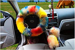 Multicolor Fuzzy Steering Wheel Cover Car Accessories Universal Fit Car Steering Wheel Gear Shift Cover Handbrake Cover (Colorful)