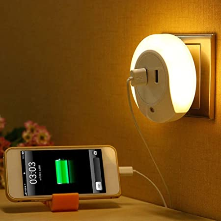 HOME CUBE Smart Control Sensor LED Night Light Bedroom Lamp with Dual USB Phone Charging Switch Socket (Warm White, Pack of 1)