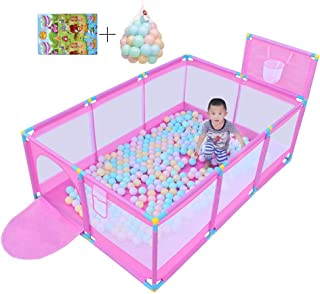 Play Tents for Children Playground Safety Center Protective Center for Child Protective Breathable Assembly  with 200 balls and play mats  pink