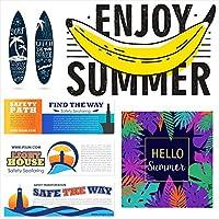 夏☆シール式ウォールステッカー summer 夏休み 祭り ひまわり 海 太陽 SURF 飾り 60×60cm 剥がせる カッティングシート wall sticker wsm-016545-ws