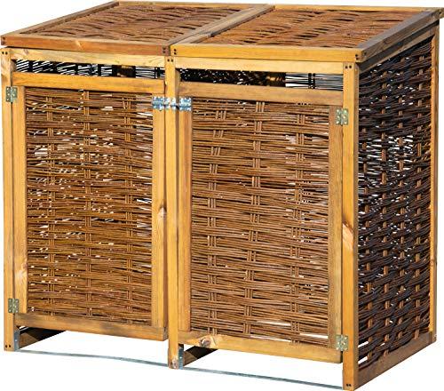 dobar Wetterfeste Doppel Box aus Holz, aufklappbares Mülltonnen-Versteck für Zwei 120l Tonnen, ungeschälte Weide, braun, 125 x 80 x 115cm Mülltonnenbox