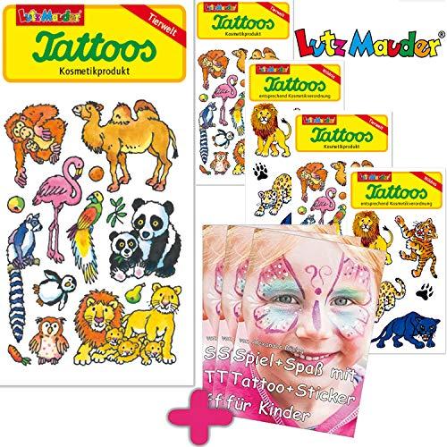 6-teiliges Tattoo-Set * Zoo & Tiere * vom Mauder-Verlag | Zootiere Kinder Kindertattoo Kindergeburtstag Geburtstag Mitgebsel Tiere AFFE Löwe Tiger Pinguin