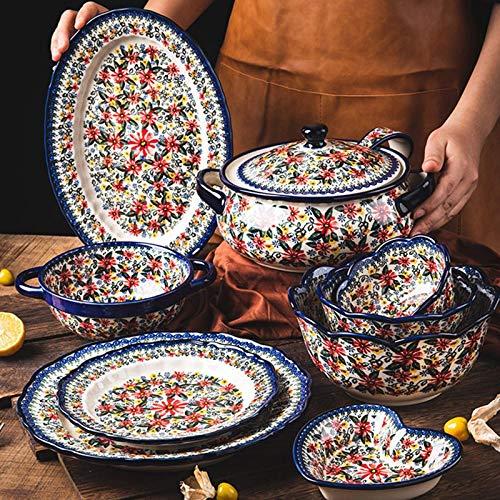 ZJZ Juego de vajilla de cerámica, Cuenco de Cereal de Estilo Polaco y Plato de Carne, Juego de 24 Juegos de Cena de Porcelana de Flores Retro para Regalo de Boda