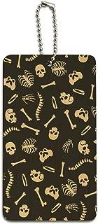 Skeleton Skull Bones Rib Cage and Femur Pattern Wood Luggage ID Tag