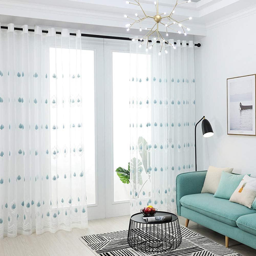 pureaqu 『1年保証』 バースデー 記念日 ギフト 贈物 お勧め 通販 Blue Floral Embroidered White 2 Panels Sheer Li Curtains