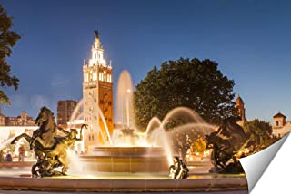 Ashley Giclee Kansas City Missouri Fountain at Country Club Plaza Wall Art Heavy thich Museum Grade Artist Paper, Poster Artwork Ready to Frame, 20x25 Print