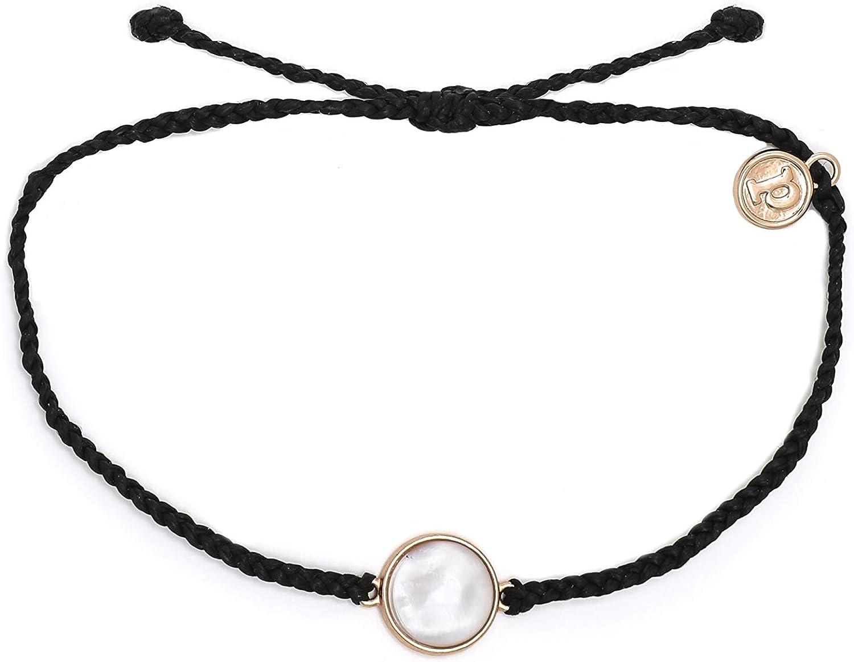 Pura Vida Rose Gold Mother of Pearl Bracelet - Plated Charm, Adjustable Waterproof Band