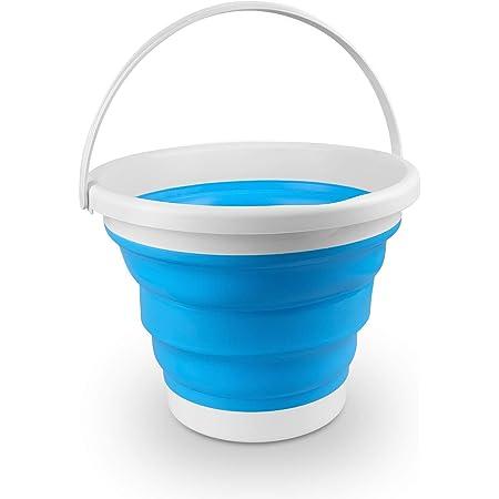 Seau pliable 10L, seau d'eau pliable portable avec poignée, seau rond en silicone pour cuisine, extérieur, camping, lavage de voiture, seau pliant peu encombrant bleu