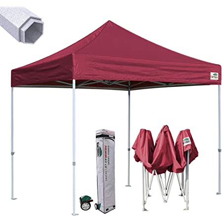Eurmax Premium 10'x10' Ez Pop-up Canopy Tent Commercial Instant Canopies Shelter with Heavy Duty Wheeled Carry Bag (Burgundy)