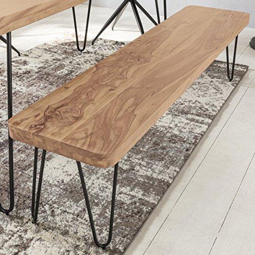 FineBuy Massive Sitzbank 120 x 40 cm Harlem Akazie Holz Bank für Esstisch Massiv | Küchenbank Massivholz | Essbank ohne Lehne für Esszimmer