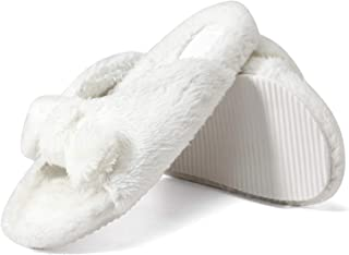 GATUXUS Open Toe Women's Fur House Slippers Memory Foam Soft Plush Casual Flat Slides Sandals Indoor Outdoor (White, Numer...