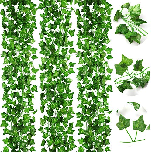 CQURE 16 Pack 112Ft Artificial Ivy Garland,Fake vine Ivy Garland UV Resistant Green Leaves Fake Plants Hanging Vine Plant for Wedding Party Garden Wall Decoration