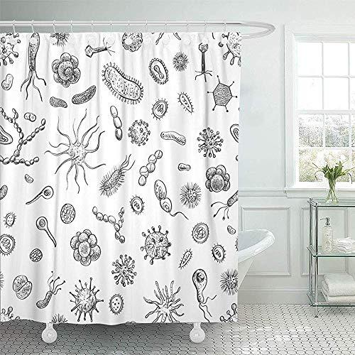Searster$ Shower Curtain Cortina de Ducha Virus de bacterias y Virus de Dibujos Animados Cortinas de Ducha de Bosquejo de Diferentes Tipos,72X72 in