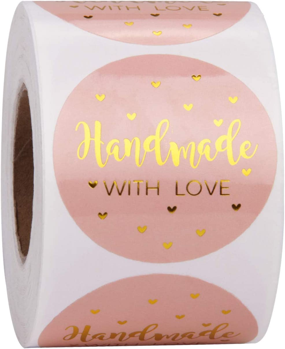 WRAPAHOLIC Handmade Business Gift Sticker - Pink with Gold Foil Sticker for Shopping Small Shop Handmade - 2 x 2 Inch 500 Total Labels