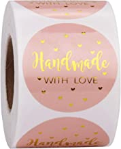 WRAPAHOLIC Handmade Business Gift Sticker - Pink with Gold Foil Sticker For Shopping Small Shop Local Handmade - 2 x 2 Inch 500 Total Labels