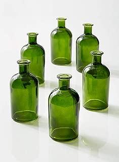 """Serene Spaces Living Dark Green Medicine Bottle Bud Vases – Semi-Transparent Glass Vases, 2.5"""" Diameter, 5.25"""" Tall – Set of 6"""