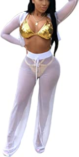 9449d1d0f52 Halfword Womens See Though Sheer Mech Hoodies Crop Top Pants Set 2 Piece  Outfits