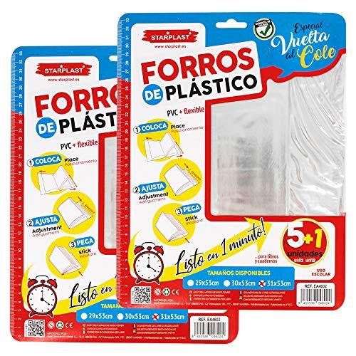 Starplast Pack de 12 Forros de Libros de Plástico Adhesivo Ajustable, Para Proteger los Libros del Colegio, Universidad o Biblioteca. Tamaño 31,5 Cm x 53 Cm. Color Transparente.