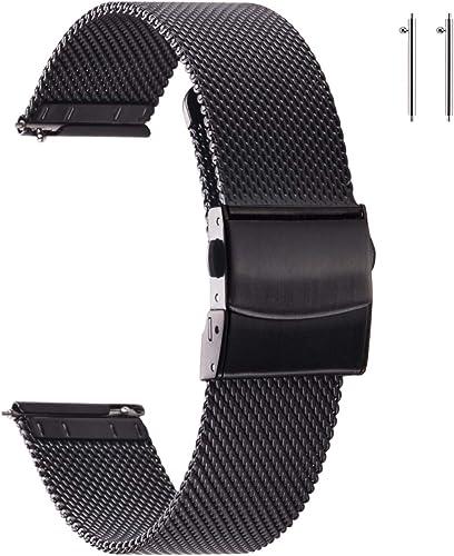 EACHE Bracelets de Montre en Maille d'acier Inoxydable pour Hommes et Femmes, Bracelets de Montre en Maille à dégagem...