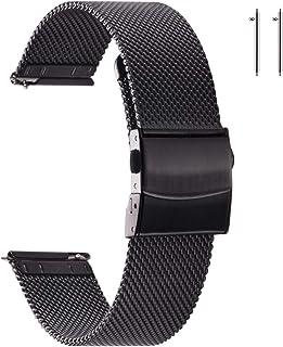 EACHE Bracelets de Montre en Maille d'acier Inoxydable pour Hommes et Femmes, Bracelets de Montre en Maille à dégagement R...