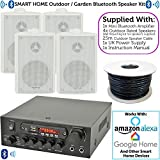 4x White Outdoor Speaker Bluetooth System Kit | SMART HOME ECHO DOT ALEXA SPOTIFY | Outside Background Audio Weatherproof Waterproof External | Wireless Music Player HiFi For Garden BBQ Parties, Pub