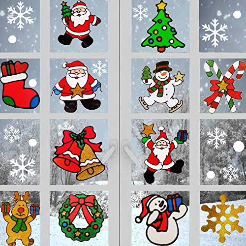 Christmass Window Clings Stickers Glitter Wall Decal Ornaments Snowman, Santa Claus, Snowflake, Tree, Santa Claus Design for Holiday Xmas Window Fridge Decorations, 12 Pcs