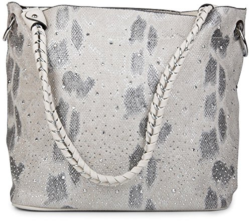 styleBREAKER Handtaschen Set in Schlangenleder Optik mit Strass Applikation im Sternenhimmel Design, 2 Taschen 02012013, Farbe:Schlange Hellgrau-Beige
