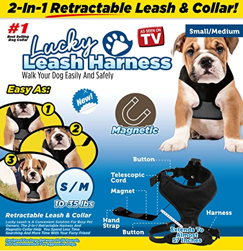 Lucky Leash As Seen on TV Magnetic Harness & Retractable Leash - Size S/M (10-35 lbs)