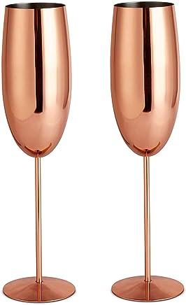 VonShef Sektgläser Champagnerflöten/Gläser Kupfer 2 Stück - Bruchsicherer Edelstahl Sektkelche