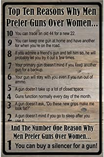 YOMIA 3020cm Poster Vintage Funny Metal Signs Tin Plate Sign Bar Mural Decoration Art Wall Funny Poster Hall Garage Cafe Metal Wall Signs-Top Ten Reasons Why Men Prefer Guns Over Women