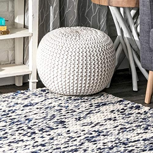 nuLOOM Ling Round Knit Ottoman low-pricing Quality inspection Pouf