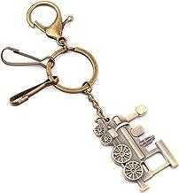 Train Keyring Metal Keychain Cool Car Keyring Purse Bag Pendant Decoration Creative Gift Keyfob (Green Patina)